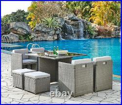 Cube Rattan Garden Furniture Outdoor 9 Piece Set Conservatory Patio Dining Set