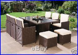Cube Rattan Garden Furniture Set Chairs Sofa Table Outdoor Patio Wicker 10 Seats