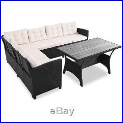 Deuba Poly Rattan Corner Sofa Set WPC Table Black Outdoor Garden Patio Furniture
