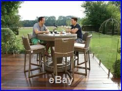 Dorchester Rattan Garden Furniture Round 6 Seater Bar Set with Ice Bucket