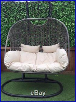 Double Cocoon Chair Swing Wicker Rattan Hanging Garden Furniture Cushion