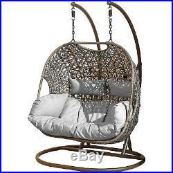 Double Rattan Swing Patio Garden Hanging Egg Chair Cushion Outdoor Furniture
