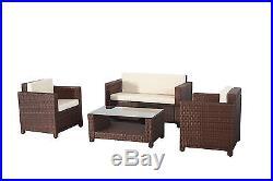 Evre Rome 4PCS Weatherproof Outdoor Furniture Set Durable Rattan Brown