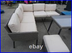 Ex Demo Homebase Brantome Garden Patio Furniture Corner Sofa Dining Set Marked