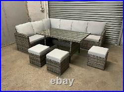 FREE DELIVERY Outdoor Rattan Garden Furniture Dining Set Table Patio Sofa Grey