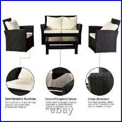 Furniture Wicker Rattan Patio Outdoor Conversation Sofa Set Garden Table Black