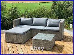 GSD Victoria Rattan Garden Furniture Corner Sofa Lounge Chase Set In/Outdoor
