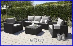 Garden 3 Seater Sofa Furniture Patio Outdoor Grey Cushion Graphite BBQ Allibert