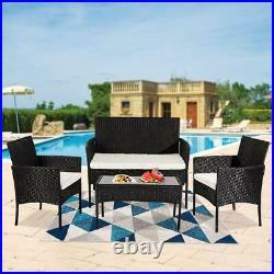 Garden 4 Piece Patio Rattan Wicker Furniture Set Table & Sofa Beige/Grey Cushion