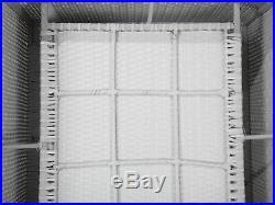 Garden Conversation Set White Wicker Rattan Cushion 8 Seater XXL