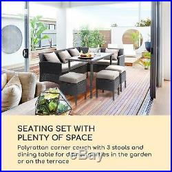 Garden Dining Lounge Set Couch Table 4 Stool Outdoor Furniture Black Rattan