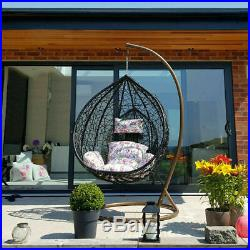 Garden Egg Chair Rattan Hanging Swing Patio Floral Cushion Outdoor Furniture