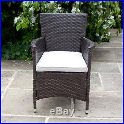 Garden Furniture Flat Weave Rattan 6 Seater Dining Set Include Cushions