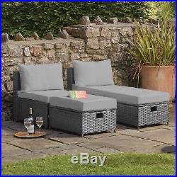 Garden Furniture Rattan Lounger Set Patio & Decking Seating Chairs Ottoman NEW