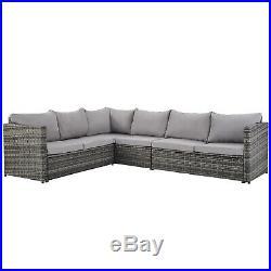 Garden Furniture Rattan Sofa Table Set Outdoor Patio 9PCS Stool Coffe Table Grey