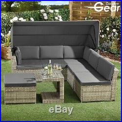 Garden Gear Rattan Furniture Daybed & Table Set Canopy Outdoor Sofa Patio Seater