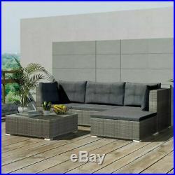 Garden Lounge Set 14 Pieces Poly Rattan Outdoor Sofa Seats Furniture Grey