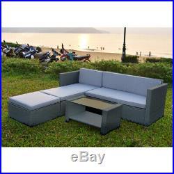 Garden Patio Rattan Sofa Set Corner Sofa & Coffee Table & Ottoman Home Outdoor