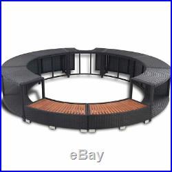 Garden Poly Rattan Spa Hot Tub Surround Outdoor Patio Furniture Black
