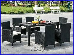 Garden Rattan Dining Table Chairs Set 7 Piece Outdoor Patio Dining Furniture Set