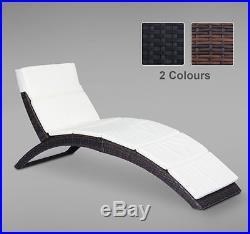 Garden Rattan Furniture Pool Folding Sun Lounger Recliner Bed Chair 2 Colours
