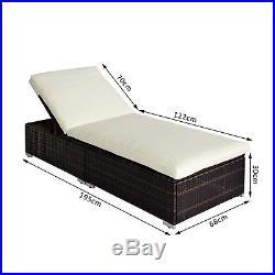 Garden Rattan Home Furniture Sun Lounger Recliner Bed Chair Pool Patio Reclining