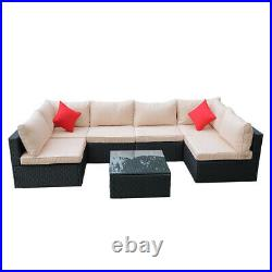Garden Rattan Set 6 Seater Sofa Patio Table Lounge Furniture with Cushions