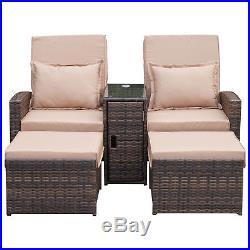 Garden Rattan Sun Lounger Conservatory Sofa Recliner Wicker Patio Furniture Set