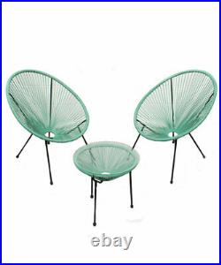 Garden String Furniture Bistro Set 3PC Chairs Glass Top Table Patio Mint Green