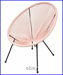 Garden String Furniture Bistro Set 3PC Chairs Glass Top Table Patio Pink