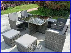 Garden conservatory furniture 8 seater grey cube rattan sofa set dining table