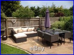 Garden furniture black & cream rattan corner sofa and matching coffee table