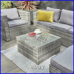Garden outdoor furniture grey rattan 5 seat sofa set with table & rain cover