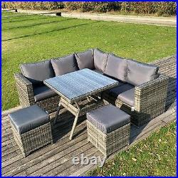 Garden outdoor furniture grey rattan 7 seat corner sofa dining set with stools