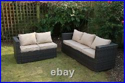 Garden outdoor patio furniture brown rattan 5 seat corner sofa with rain cover