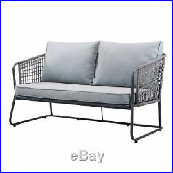 Grey 4 piece Lounge Set Furniture Garden Metal Outdoor Conservatory Table Chair