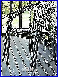 Grey Bistro Sets Outdoor Garden Furniture Table Rattan Chairs Seat Patio