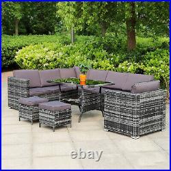 Grey Corner Rattan Dining Sofa Set Garden Patio 10 Seater Furniture Settee
