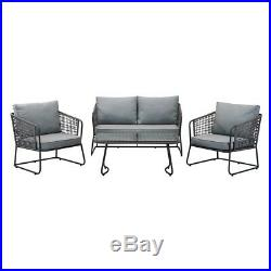 Grey Metal Garden Furniture Outdoor Set (1x Single + Double Chair & Table Only)