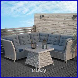 Grey Rattan Garden Furniture Set Corner Sofa & Table Aspen