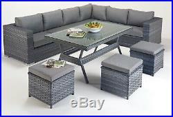 Grey Rattan Garden Furniture Set inc Parasol and Covers