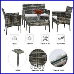 Grey Rattan Outdoor Garden Furniture Set 4 Piece Chairs Sofa Table Patio Set