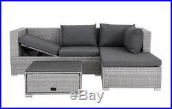 Grey Rattan Recliner Sofa Lounge Garden Set With Storage Outdoor Furniture Patio