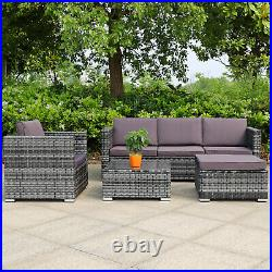 Grey Rattan Sofa Set Patio Garden Outdoors Wicker 5 Seater Furniture Settee