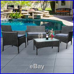 Grey Rattan Wicker Garden Furniture Conservatory Armchair Sofa Coffee Table Set