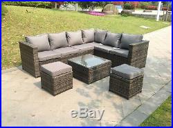 Grey rattan corner sofa set with footstool 8 seater outdoor garden furniture