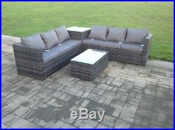 Grey rattan sofa outdoor garden furniture coffee table set patio with cushions