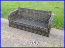 High Back 3 Seater Rattan Sofa Patio Outdoor Garden Furniture With Cushion