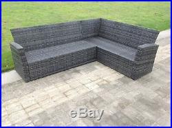 High back rattan sofa set chair coffee table outdoor garden furniture mixed grey