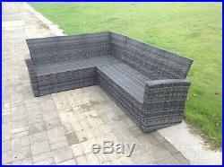 High back rattan sofa set square table outdoor garden furniture mixed grey
